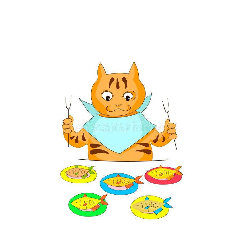 El gato hambriento va a comer pescados Imagen linda del vector stock de ilustración
