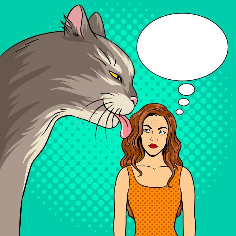 El gato lame el ejemplo del vector del arte pop de la muchacha ilustración del vector