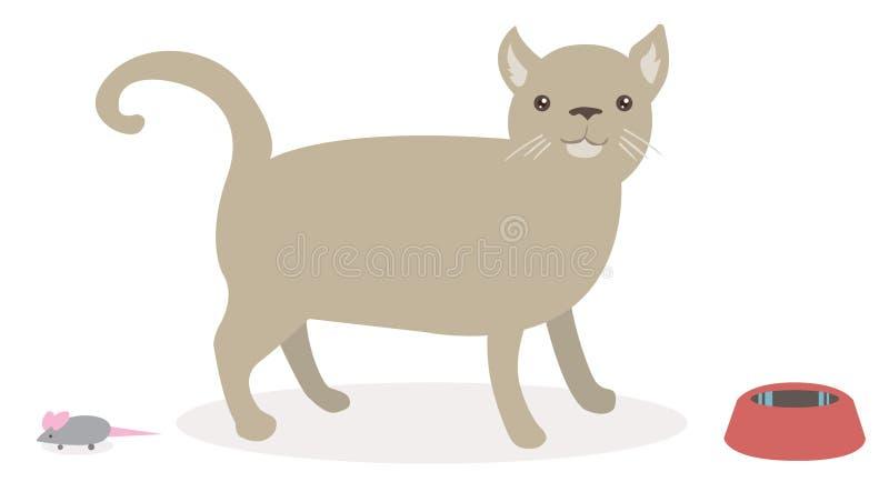 El gato lindo con el juguete del ratón y el alimento ruedan. foto de archivo