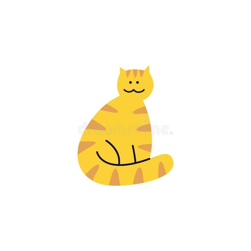 El gato lindo del jengibre del gato atigrado se sienta con la cola envuelta alrededor de su estilo plano de la historieta de las  libre illustration