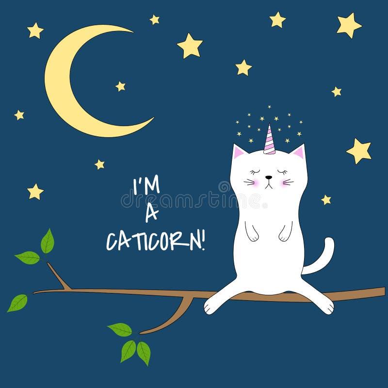 El gato lindo del unicornio se sienta en la noche en un árbol ilustración del vector