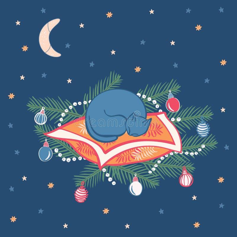 El gato lindo está durmiendo en ramas de un pino con el ejemplo del vector de los ornamentos de la Navidad ilustración del vector
