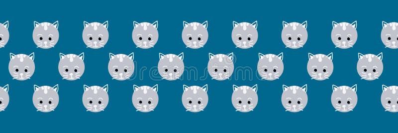 El gato lindo hace frente a la frontera inconsútil del vector Lunares lindos del gatito en fondo azul Los niños geométricos de la stock de ilustración