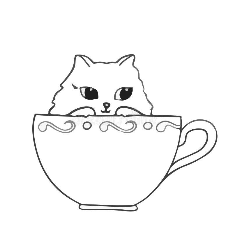 El gato lindo que se sentaba en la taza en la mano blanca del fondo dibujada resumió vector libre illustration