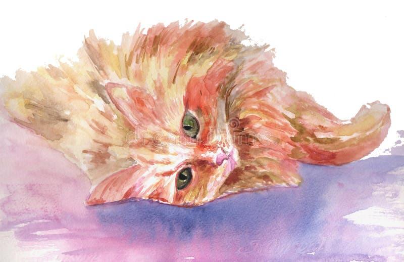 El gato miente en el sofá pintado con las acuarelas en el papel stock de ilustración