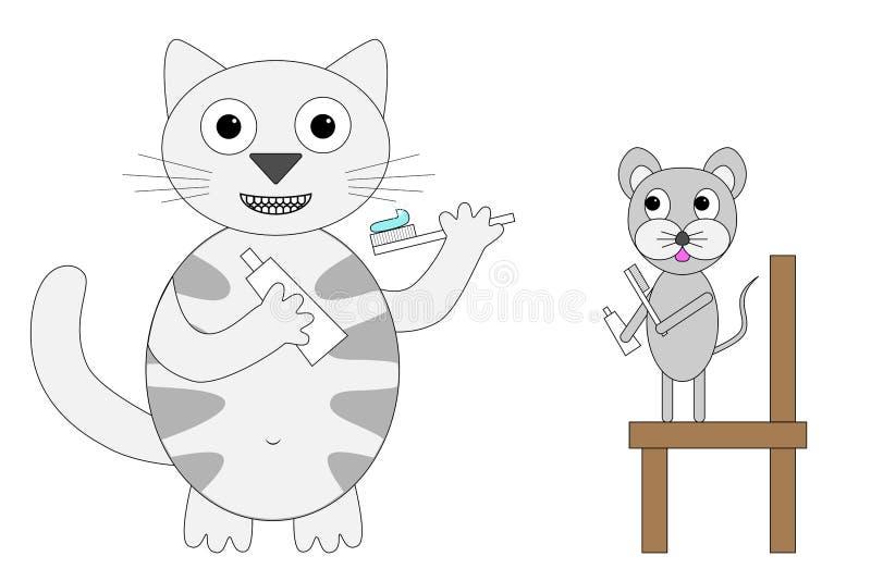El gato nacional del gato atigrado gris enseña a un ratón a cepillar los dientes correctamente, concepto de cuidado oral e higien libre illustration