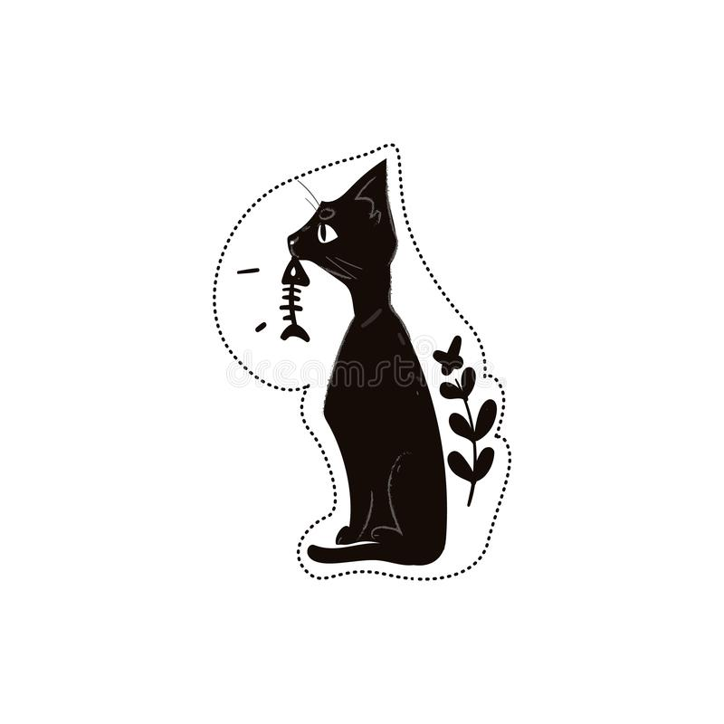 El gato negro celebra el ejemplo esquelético del vector de la historieta de la impresión de la moda de los pescados aislado ilustración del vector
