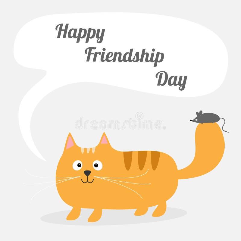 El gato rojo de la amistad de la historieta linda feliz del día con charla del ratón piensa la tarjeta de burbuja Embroma diseño  ilustración del vector