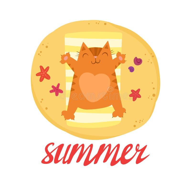 El gato rojo lindo con un coraz?n en el vientre toma el sol en la playa ilustración del vector