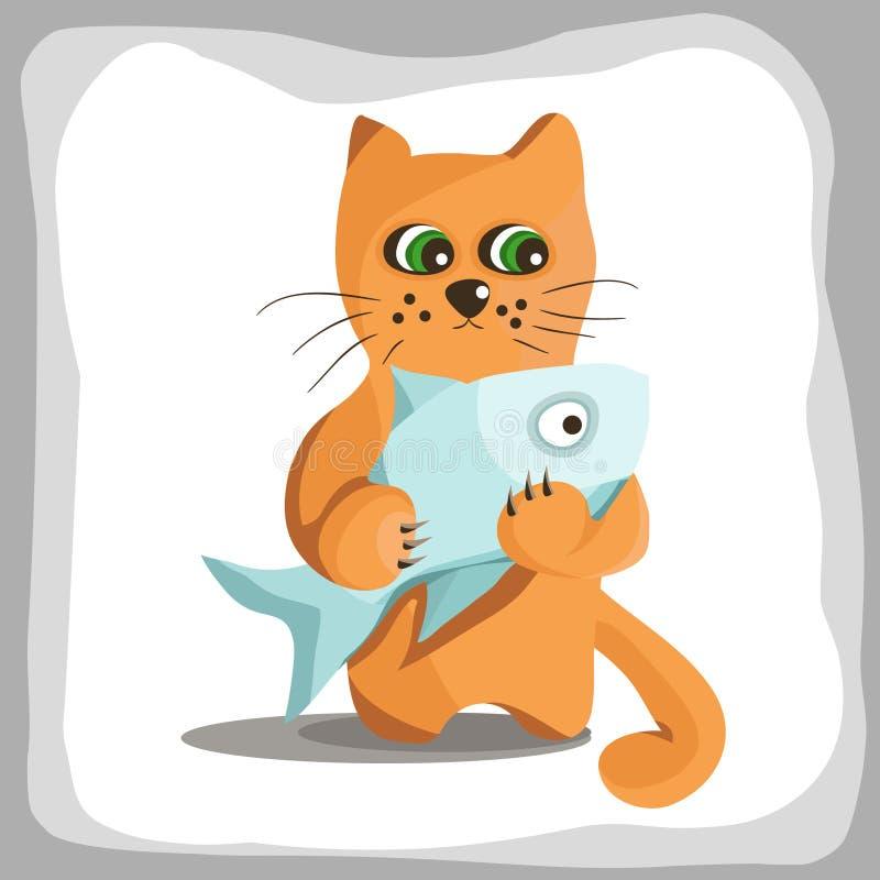 El gato rojo sostiene pescados grandes ilustración del vector