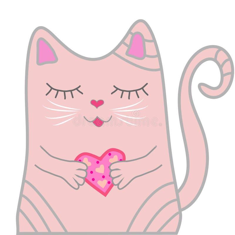 El gato rosado divertido se cerró los ojos y lleva a cabo un corazón en sus patas Concepto lindo de la muchacha ilustración del vector
