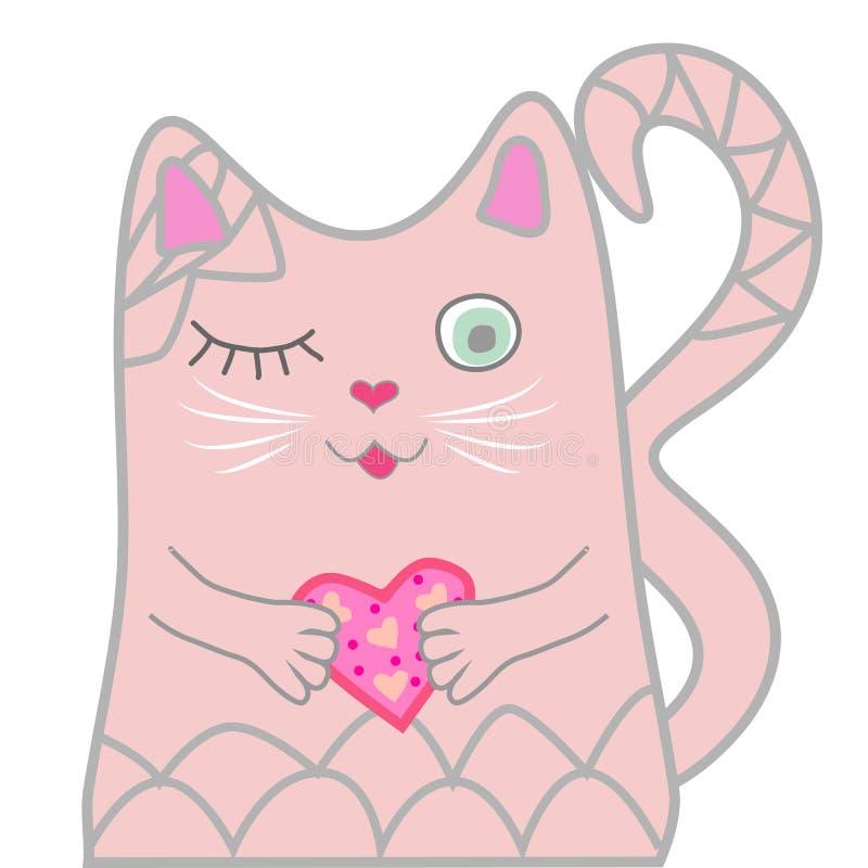 El gato rosado divertido se cerró los ojos y lleva a cabo un corazón en sus patas Concepto lindo de la muchacha stock de ilustración