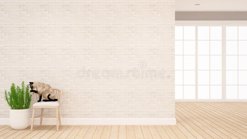 El gato se sienta en la silla que juega la planta en la sala de estar o el otro sitio - animal en el hogar para las ilustraciones ilustración del vector