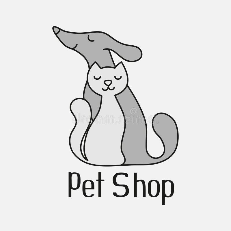 El gato y el perro firman para el logotipo de la tienda de animales libre illustration