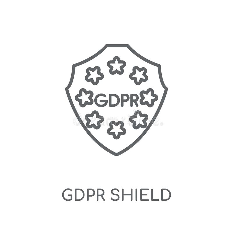 el gdpr protege el icono linear Concepto moderno del logotipo del escudo del gdpr del esquema ilustración del vector