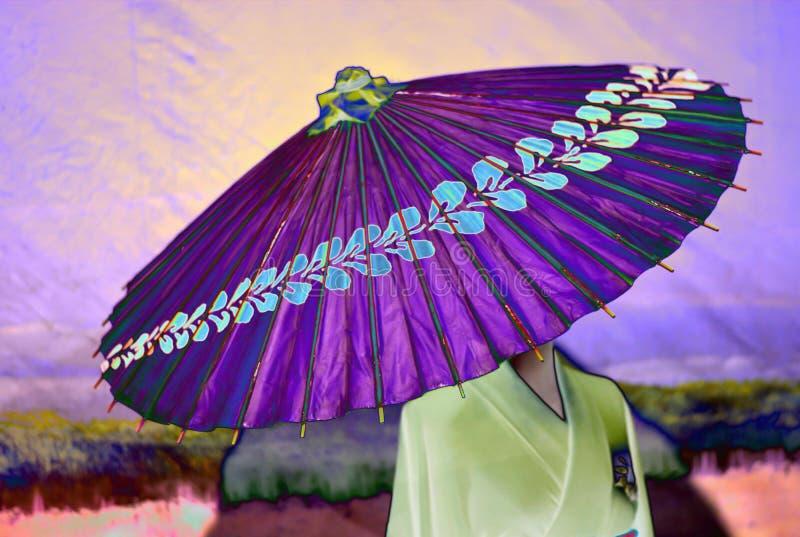 El geisha con un pequeño paraguas púrpura stock de ilustración
