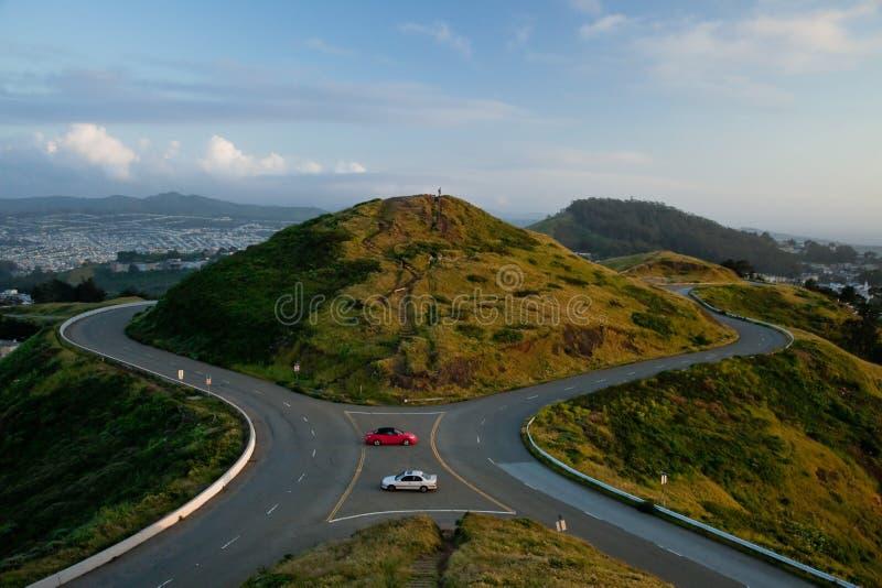 El gemelo enarbola la colina, San Francisco. fotografía de archivo