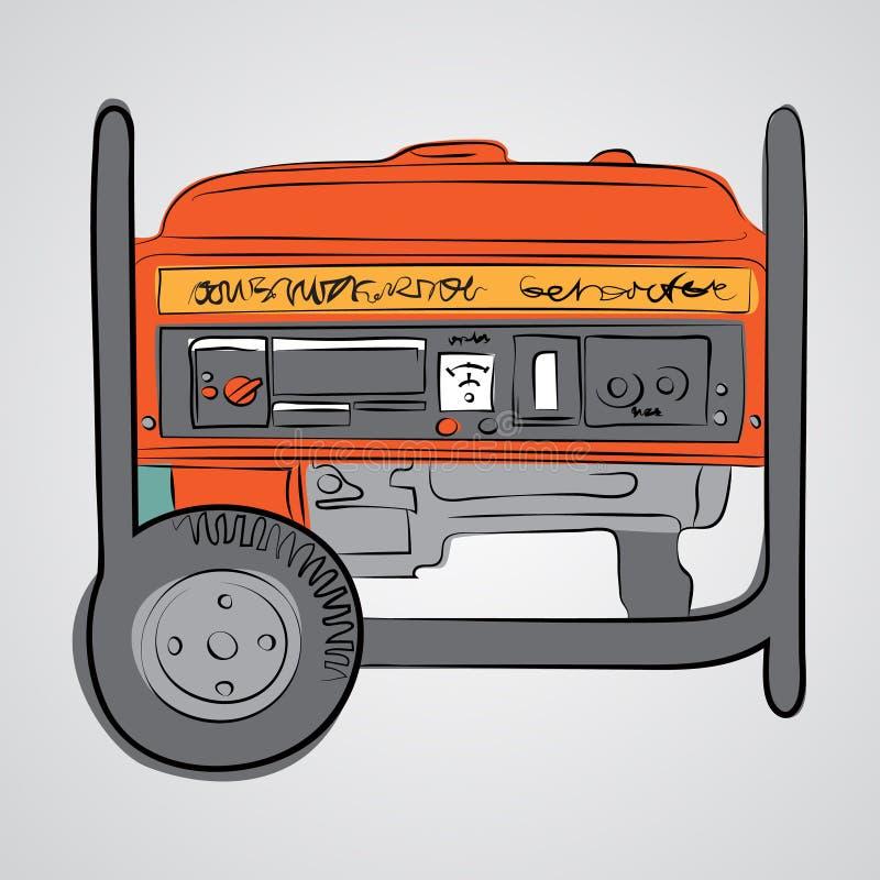 El generador diesel bosqueja estilo stock de ilustración