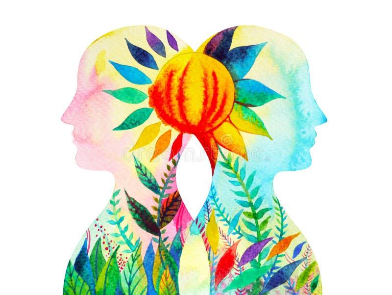 El genio, poder del chakra, florece el pensamiento abstracto floral junto stock de ilustración