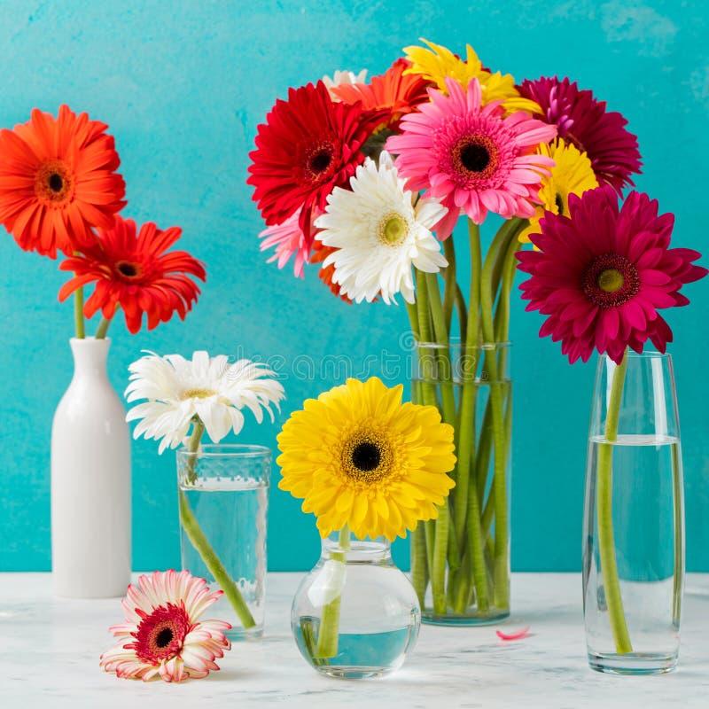 El gerbera colorido florece en los floreros de cristal, botellas foto de archivo