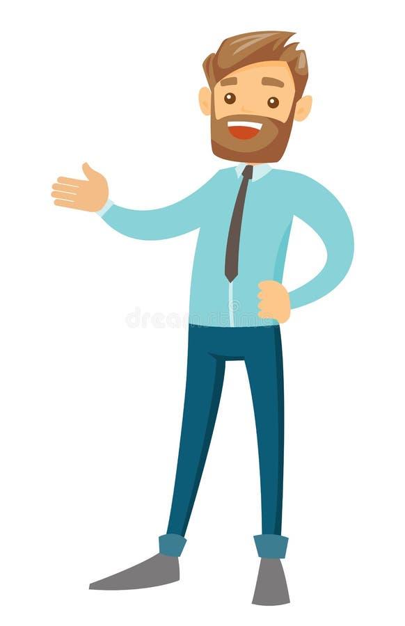 El gesticular blanco caucásico joven del hombre de negocios ilustración del vector