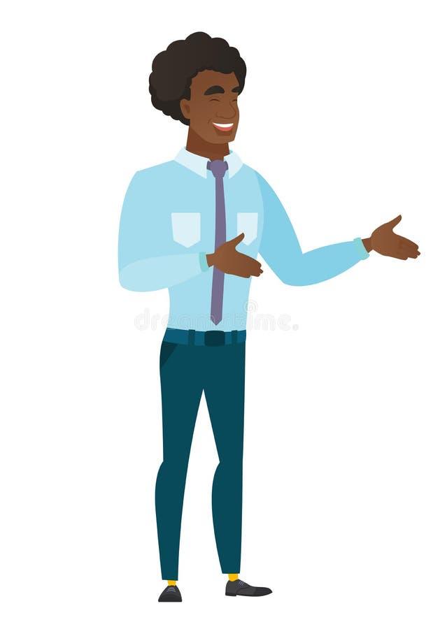El gesticular feliz afroamericano del hombre de negocios libre illustration