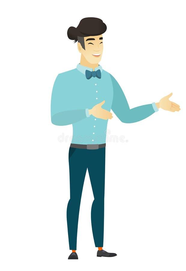 El gesticular feliz asiático joven del hombre de negocios ilustración del vector