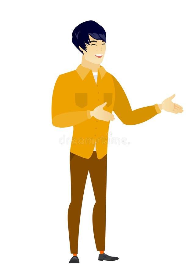 El gesticular feliz asiático joven del hombre de negocios stock de ilustración