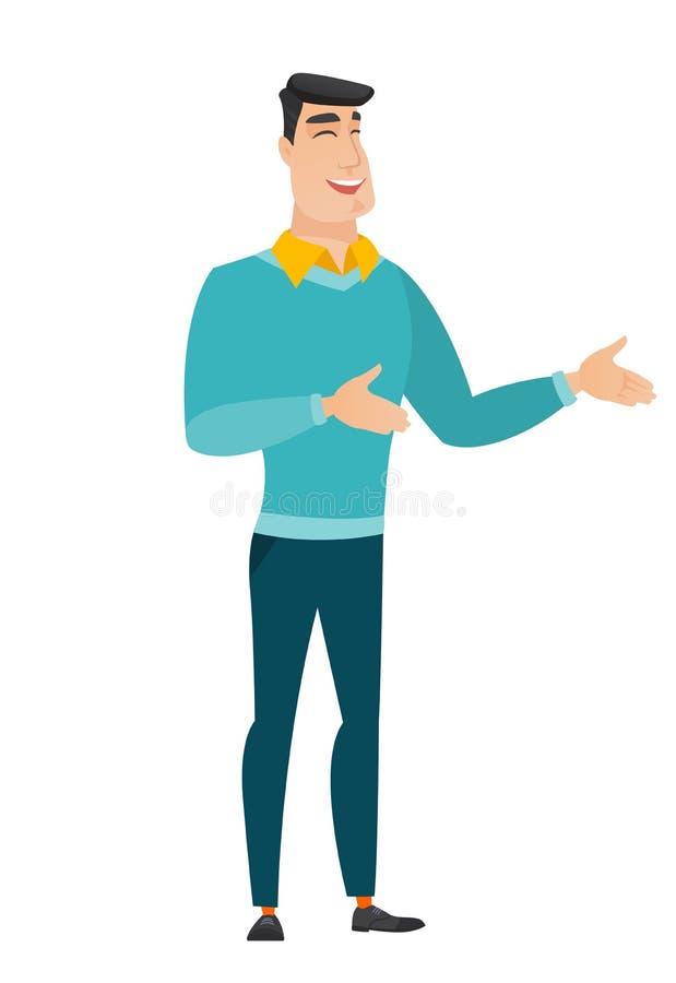 El gesticular feliz caucásico joven del hombre de negocios ilustración del vector