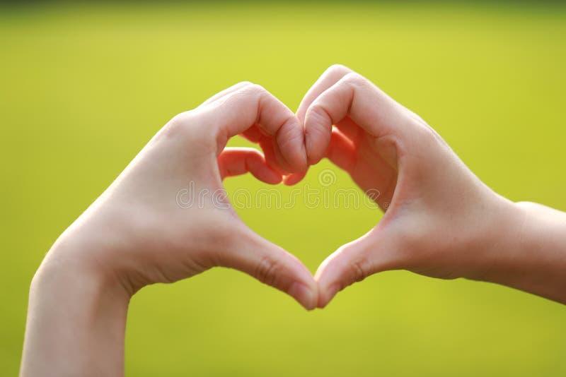 El gesto del significado del amor hace un gesto con la hierba del césped del verde de la mano de la mujer como fondo imagen de archivo