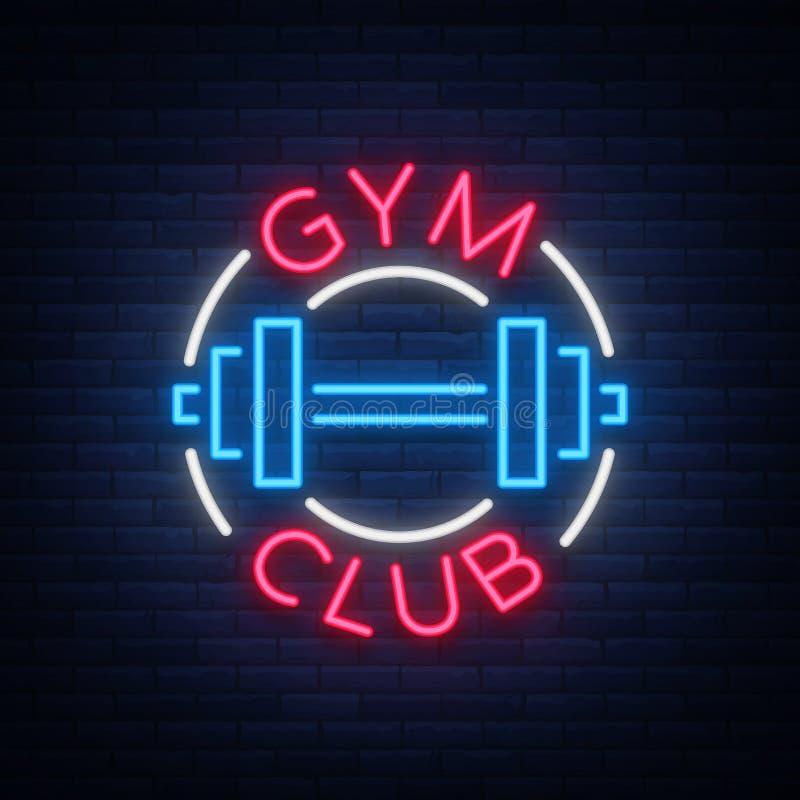 El gimnasio del logotipo firma adentro el ejemplo aislado el estilo de neón del vector stock de ilustración