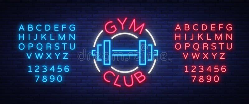 El gimnasio del logotipo firma adentro el ejemplo aislado el estilo de neón del vector Una muestra que brilla intensamente, un an ilustración del vector