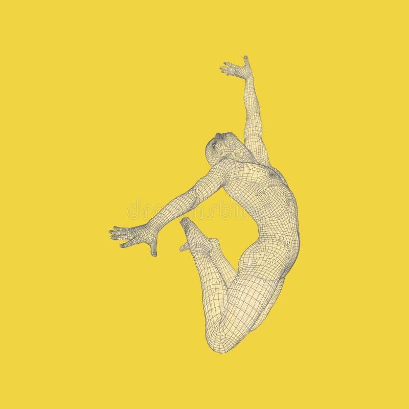 El gimnasta realiza un elemento artístico Gimnasia rítmica, la acrobacia y aeróbicos ilustración del vector