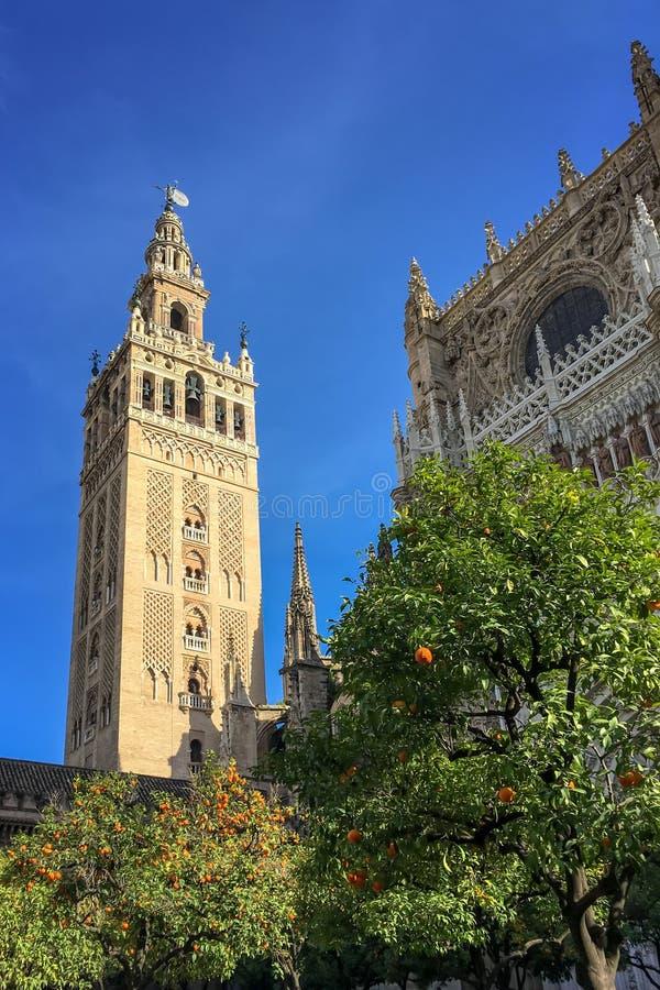 El Giralda, campanario de la catedral de Sevilla, Andalucía España imagen de archivo libre de regalías