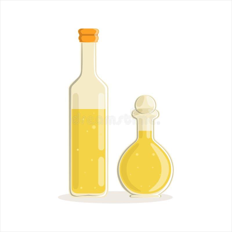 El girasol o las botellas de cristal del aceite de oliva vector el ejemplo libre illustration