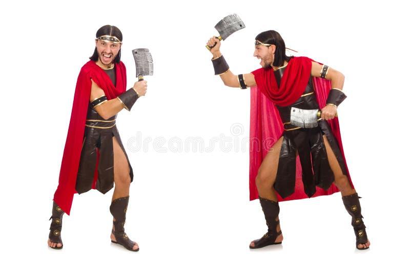 El gladiador con la cuchilla aislada en blanco imágenes de archivo libres de regalías