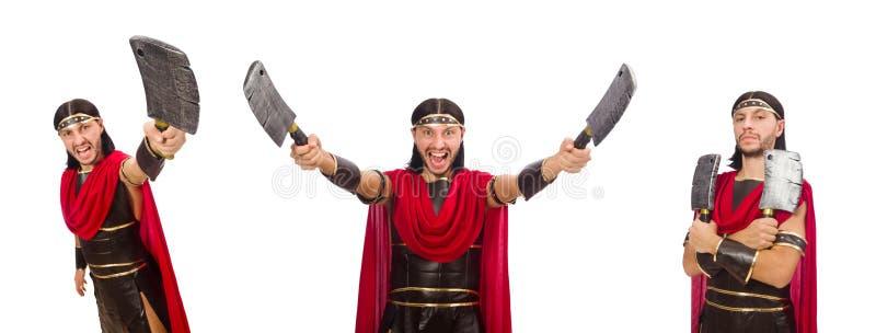 El gladiador con la cuchilla aislada en blanco fotografía de archivo