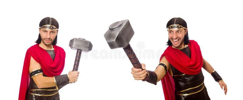 El gladiador con el martillo aislado en blanco imagen de archivo