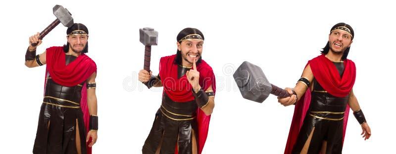 El gladiador con el martillo aislado en blanco fotos de archivo
