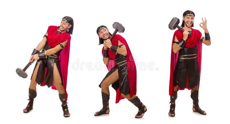 El gladiador con el martillo aislado en blanco fotografía de archivo