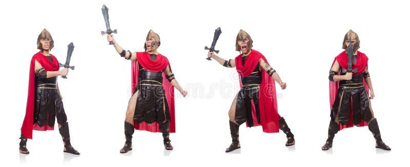 El gladiador que sostiene la espada aislada en blanco fotos de archivo libres de regalías