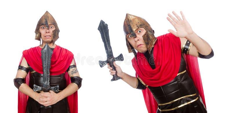 El gladiador que sostiene la espada aislada en blanco imágenes de archivo libres de regalías