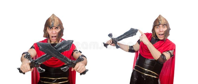 El gladiador que sostiene la espada aislada en blanco fotos de archivo