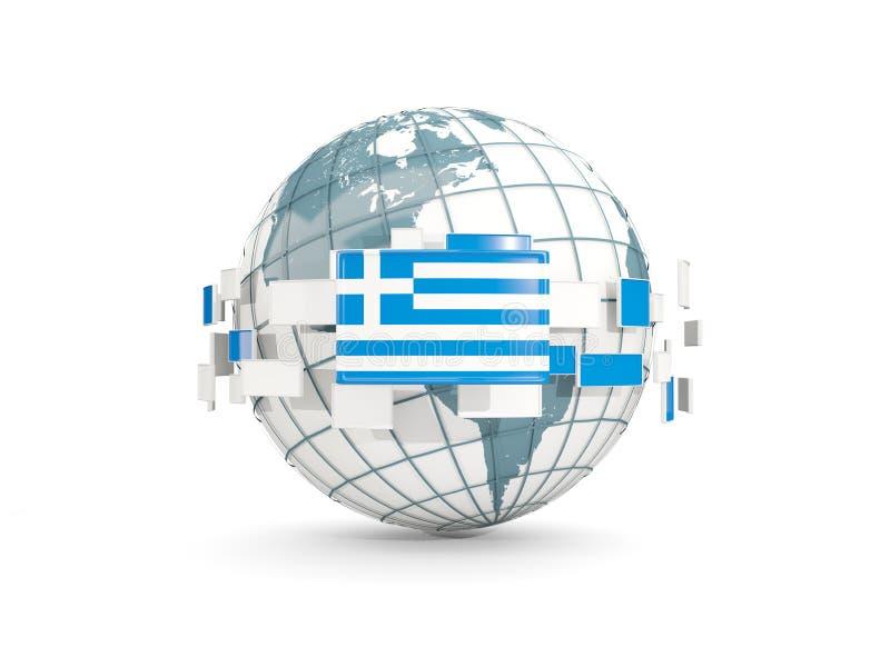 El globo con la bandera de Grecia aisló en blanco libre illustration