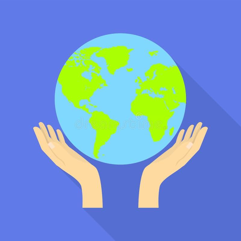 El globo de la mano protege el icono, estilo plano stock de ilustración