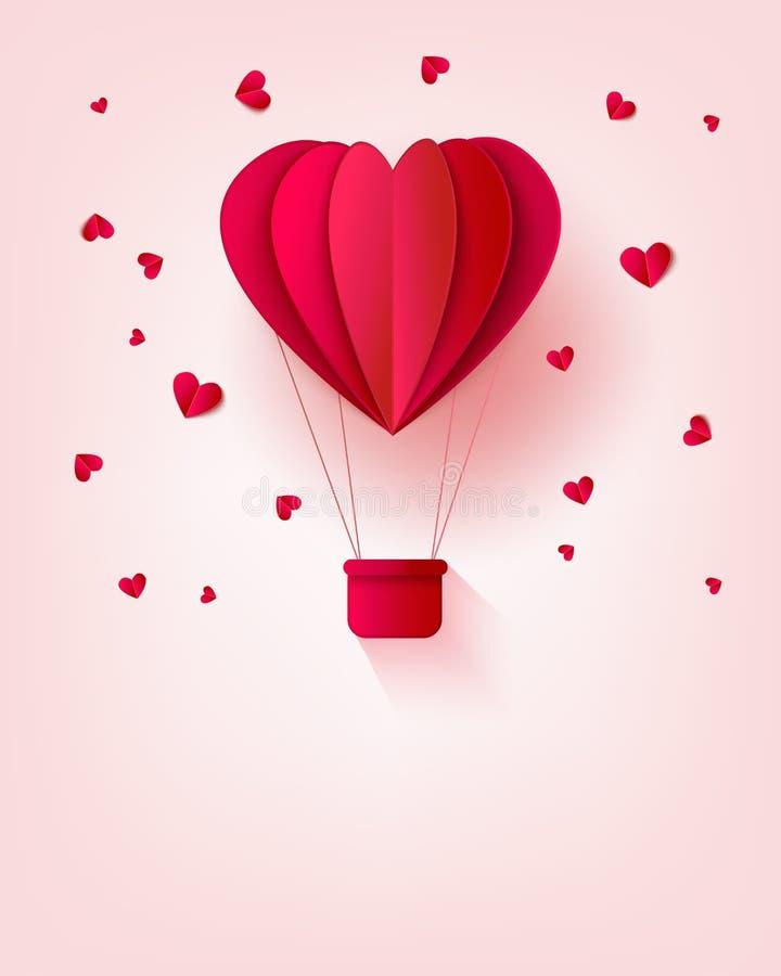 El globo de papel rojo doblado del aire caliente en la forma de corazón rodeada por poco corazón forma en fondo en colores pastel stock de ilustración