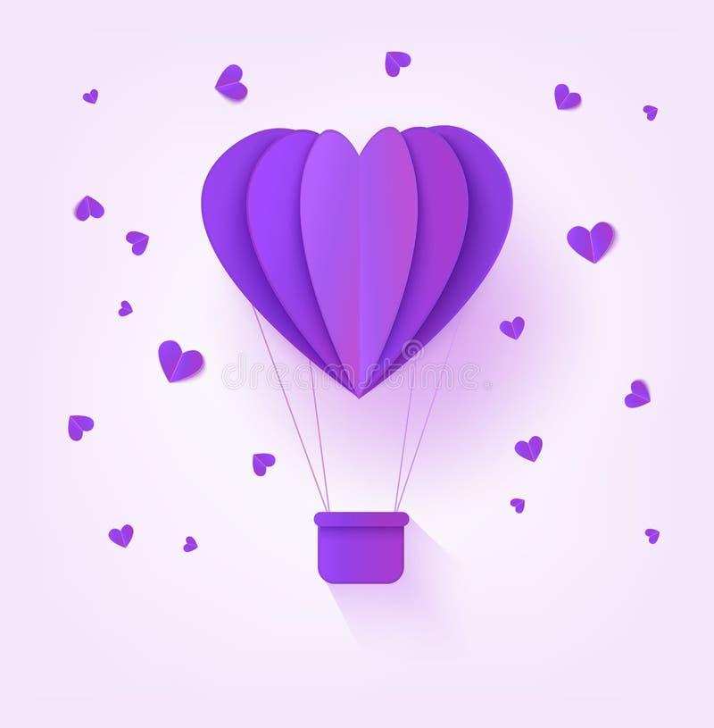 El globo de papel violeta doblado del aire caliente en la forma de corazón rodeada por poco corazón forma en fondo en colores pas stock de ilustración