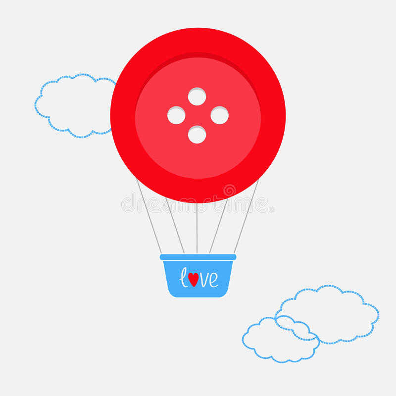 El globo del aire caliente hecho de línea grande de la rociada del botón rojo se nubla diseño plano stock de ilustración