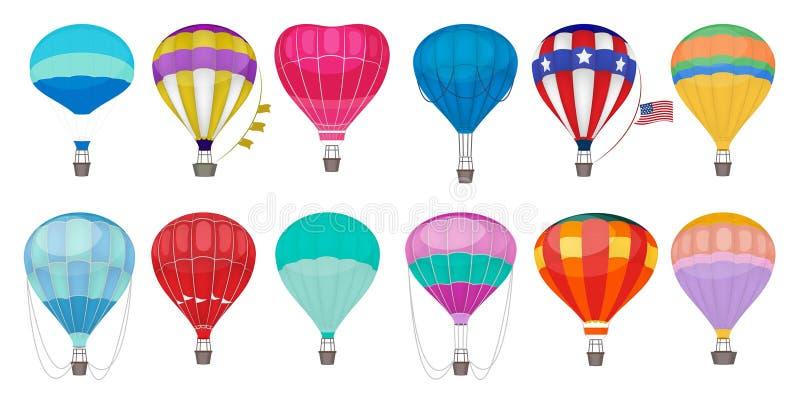 El globo del aire caliente photgrphed en el Bealton, demostraci?n de aire del circo del vuelo del VA Globos coloridos románticos  ilustración del vector
