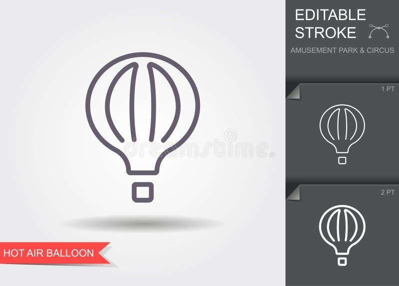 El globo del aire caliente photgrphed en el Bealton, demostraci?n de aire del circo del vuelo del VA L?nea icono con el movimient ilustración del vector